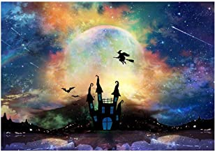 Funnytree 7x5ft Halloween Moonlight Backdrop Haunted Castle Party Photography Background Full Moon Spooky Night Witch Decorations Baby Adult Portrait Photo Studio Booth