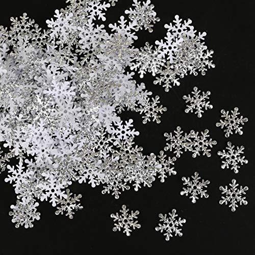 GWHOLE 600 Unidades Confeti Copo de Nieve Plata Decoración Materiales para Navidad Boda Fiestas Adornos Globo Festivo