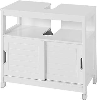 SoBuy szafka pod umywalkę z 2 drzwiami szafki pod umywalkę Biały,FRG128-W