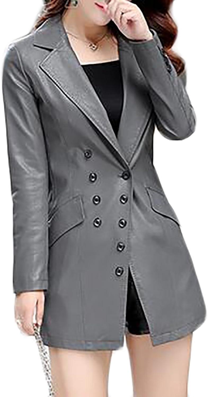 XQS Women's Slim Blazer Style Slim PU Faux Fur Leather Jacket Coat