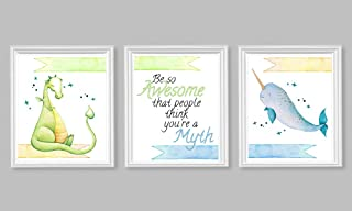 Silly Goose Gifts Be So Awesome That Other People Think You are A Myth Wall Art Set Narwhal Dragon