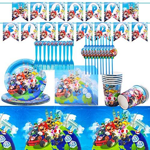 Vajilla Diseño de Super Mario Accesorio de Decoración de Fiesta de Cumpleaños Apoyo para Celebración Pancarta Platos Vasos Servilletas y Mantel Resistente, 62pcs
