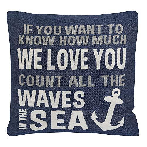Grafelstein Kissenhülle Count All The Waves blau weiß mit Schrift maritim Kissen Long Island