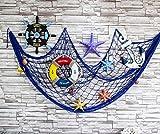 Old Tjikko Fischernetz Deko,Maritime Deko,Mediterranen Stil Fischerei Dekorative mit Farbigen Muscheln,Netz Schlafzimmer Wohnzimmer Wand Bar Party Decor Fotografie,Circa 150 x 200 cm (Blau) - 5
