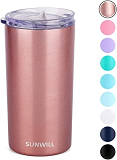 SUNWILL 12oz Tumbler with Lid, Insulated Coffee Travel Mug, Skinny Tumbler Lowball,..