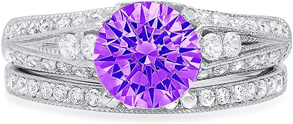Clara Pucci 2.10ct Round Cut Pave Solitaire Accent Genuine Flawless Natural Purple Amethyst Engagement Promise Statement Anniversary Bridal Wedding Ring Band set Solid 18K White Gold