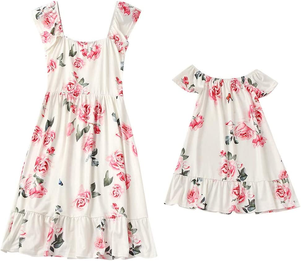 3-4 Years-XXL 3-4 Years Ikevan Mommy&Me Child O-Neck Sleeveless Ruffles Floral Printing Family Clothes Dress