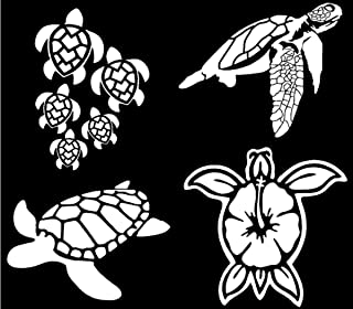 CCDecals Sea Turtle Decal 4 Pack: Sea Turtle Family, Hibiscus Turtle Shell (Sea Turtles White)