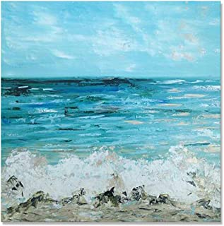 Chadow Art Ocean Sea Waves Canvas Wall Art Blue Abstract Oil Painting Seascape Artwork for Living Room Bedroom Home Decor 32x32 Inch
