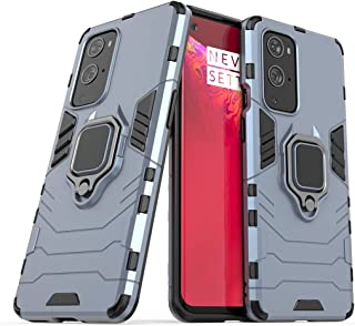 Compatible with OnePlus 9 Pro 5G Case, Metal Ring Grip Kickstand Bumper (Works with Magnetic Car Mount) Dual Layer Rugged ...