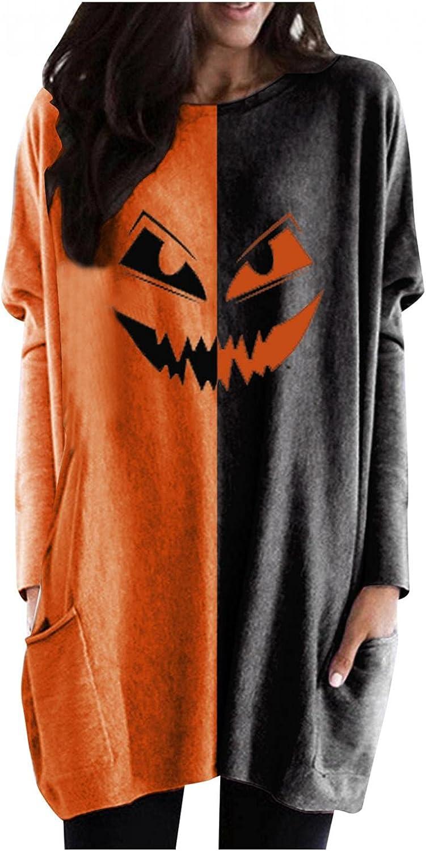 UOCUFY Sweatshirt for Women, Womens Tunic Tops Halloween Pumpkin Print Casual Long Sleeve Shirts with Pocket Oversized