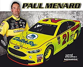 AUTOGRAPHED 2018 Paul Menard #21 Menards/Dutch Boy Team (Wood Brothers Racing) Monster Energy Cup Series Picture 8X10 Inch Signed NASCAR Hero Card Photo with COA