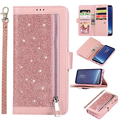 Artfeel Glitzer Reißverschluss Brieftasche Hülle für Samsung Galaxy S8 Plus,Bling Glänzend Leder Handytasche mit 9 Kartenfächer,Flip Magnetisch Stand Schutzhülle mit Handschlaufe-Roségold