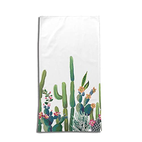 Chic Boho Exotic Cute Succulents Cactus Hand Towels for Bathroom Soft Large Decorative Hand Towels Multipurpose for Bathroom, Hotel, Gym and Spa (27.5x15.7in, White)