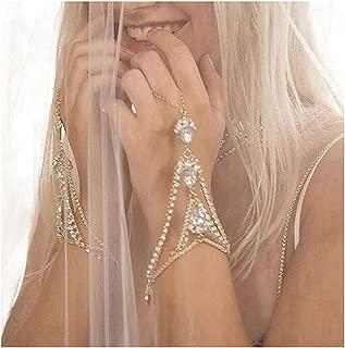 Bohemian Pearl Hand Harness Bangle Chain Link Finger Ring Bracelet Wedding Jewelry Women