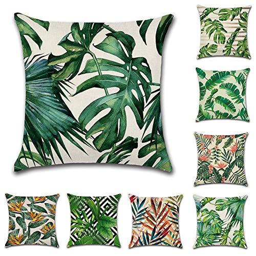 Paquete de 8 fundas de cojín para plantas tropicales, diseño de hojas verdes de la selva tropical para salón, jardín, patio, terraza, granja de 45,72 x 45,72 cm
