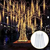 TOPIST Falling Raindrop Lights, LED Meteor Shower Christmas Lights 30cm 8 Tubes 144 LED, Icicle Snow Falling Rain Lights for Party Holiday Garden Xmas Tree Decoration(Warm White)