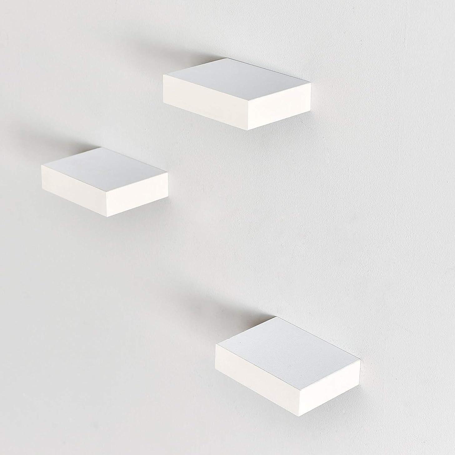 可動式出発するわかるLAPTAIN 壁掛け 棚 飾り棚 ウォールシェルフ ディスプレイ 天然木製 日常の空間をお洒落に可愛く 石膏ボード 三点セット ミニミニ ホワイト