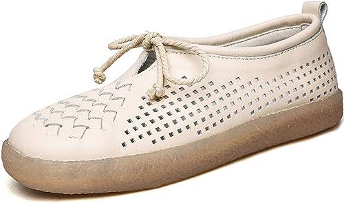 YAN Chaussures de Femmes en Cuir Mocassins & Slip-Ons Les Les dames Retro Faible-Top Décontracté Soft Chaussures Fond Plat maternité Chaussures Noir Beige Blanc,Beige,40