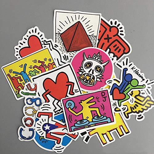 Ligoi- 14 Pz/Lotto Cartoon Decal Snowboard Laptop Bagagli Auto Frigo Car-Styling Sticker Keith Haring Adesivi Giocattoli
