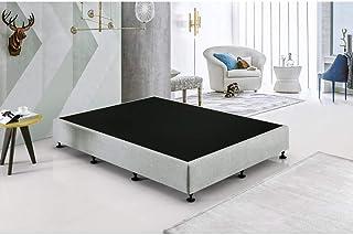 Palermo King Single Ensemble Frame Bed Base - Linen Fabric - Platinum Light Grey - Premium Linen Fabric Upholstered Bed Base