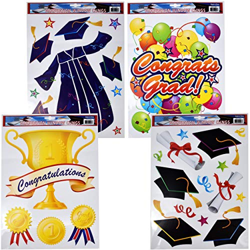 Gift Boutique Graduation Window Clings 4 Pack Party Accessories Stickers Decorations for Cars, Kitchen, Congrats Grad Window Cling Stickers College, School Graduation for Boy or Girl Graduate