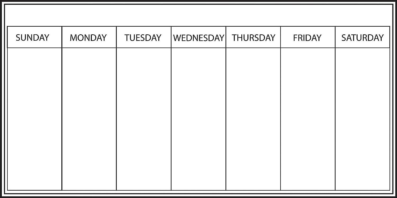 Whiteboard Weekly Calendar Decal