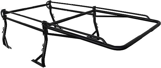 AA-Racks Model X38 Short Bed Truck Ladder Rack Side Bar with Long Over-cab Ext. -Matte Black