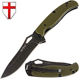 Grand Way Folding Pocket Knife - Folding Knife - EDC and Outdoor Large Fold Knives Classic Stainless Steel Blade with G-10 Handle - Best Strong Tactical Pocket Knife for Urban Hiking 10609