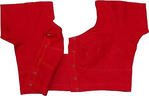 PEEGLI Blusa Roja Tradicional India Algodón De Manga Corta ...