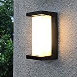 Shinbeam Outdoor Wall Porch Lights,Led Wall Sconces,IP65 Waterproof Lighting Fixture ,3-Color-Changeable Wall Fixture,Warm White Cold White and Nature White Color(Black)