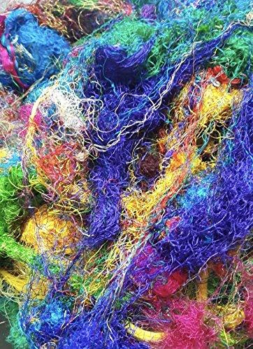 KNITSILK Farbige aus recyceltem Sari Seide Garn Faser - 200 Gramm Mix Farben