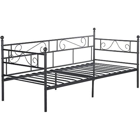 EGGREE Cadre de lit en Métal Canapé-Lit en Fer Forgé Lit Simple pour Enfant Adulte, 90 * 190cm Noir