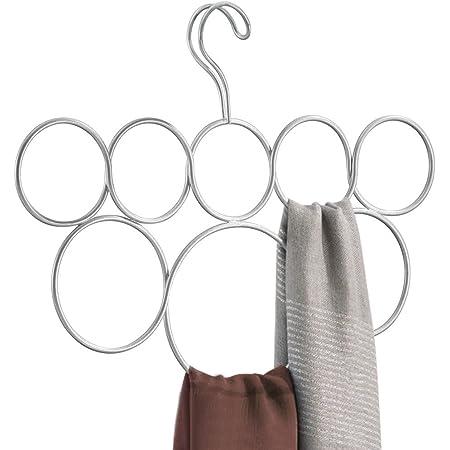 InterDesign Classico cintre foulard avec 8 boucles, rangement suspendu en métal pour écharpes, cravates, ceintures, pashminas, etc., argenté mat