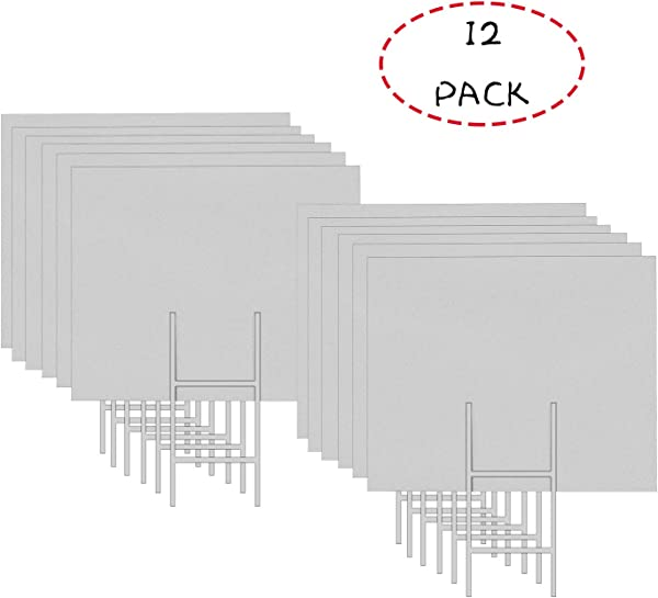 MEJOR CONOCIDO 12 Pack 24 X18 White Blank Lawn Yard Signs Corrugated Plastic Sheet With Durable H Stakes Opening Business Garage Rent House Sale