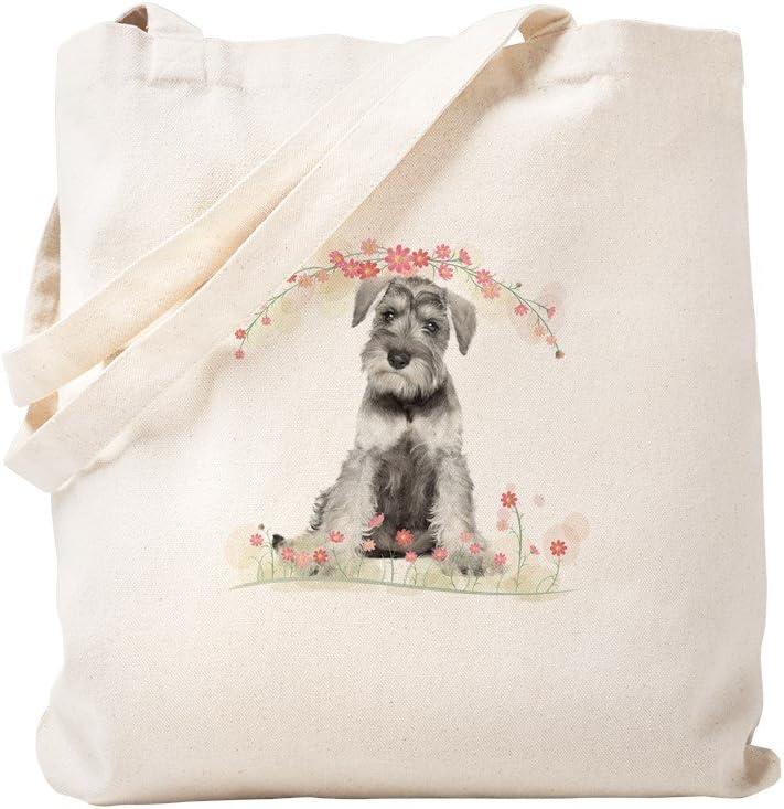 CafePress Schnauzer Flowers Tote Bag Natural Canvas Tote Bag, Reusable Shopping Bag
