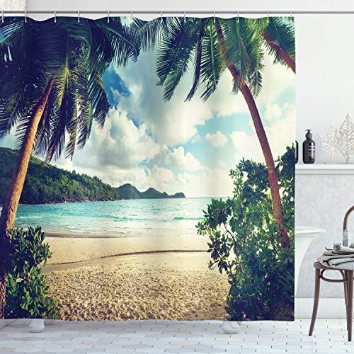 ABAKUHAUS Palme Duschvorhang, Sommer Vintage Tropische, Waschbar & Leicht zu pflegen mit 12 Haken Hochwertiger Druck Farbfest Langhaltig, 175 x 220 cm, Dunkelgrüner Sand Braun Hellblau
