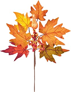 Dolicer 2PCS Artificial Pumpkin Maple Leaf Berry Bouquet Artificial Maple Leaf Branches Autumn Colored Leaves with Pumpkin Decoration for Halloween Party Thanksgiving Day Fall Weddings Parties Decor