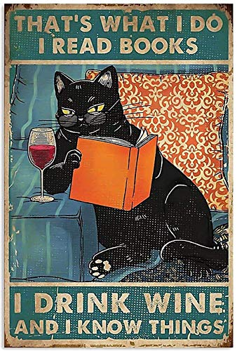 Cat That's What I Do I Know Things I Drink Wine Canvas Wall Art Canvas 0.75 Inch, Home Decor (Size 8x12, 12x18, 16x24, 24x36 Inches)