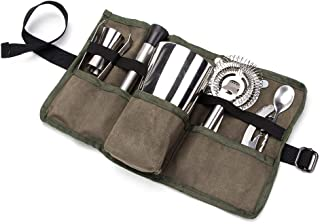 Premium Waxed Canvas Professional Bartender Kit Roll, Waterproof Home And Workplace Cocktail Set Roll Up Organizer Bag, Shaker, Bar Blade, Jigger, Wood Muddler, Strainer, Spoon Pouch Holder (HGJ339)