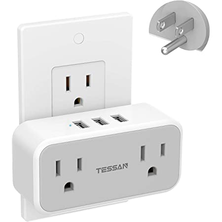 Night Light 2 USB Charger TESSAN Wall Power Plug Adapter with 2 Outlet