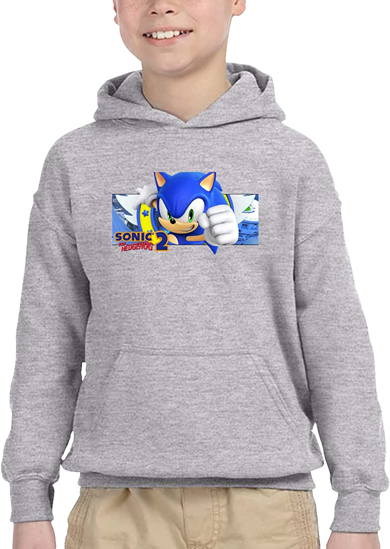 Sonic Unisex Boy Girl Children'S Hooded Pocket Sweater Sweatshirt 5-6x Gray