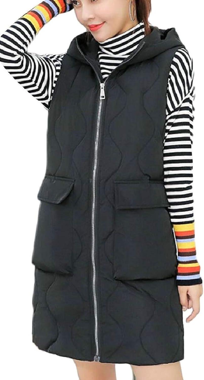 CBTLVSN Women's Mid Long Winter Zipper Hoodies Thicken Quilted Down Vest Jackets
