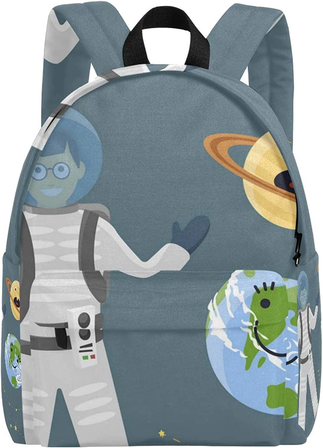College Bookbag Cool Astronaut Dad and Earth Print Schoolbag Unisex Backpack Hiking Daypacks Travel Sports Bags