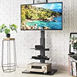 Universal Floor TV Stand with Swivel Mount and Adjustable Media Shelves for 32 37 43 47 50 55 60 65 inch Flat/Curved Screen TVs, Internal Wire Management and Tempered Glass Base, Black