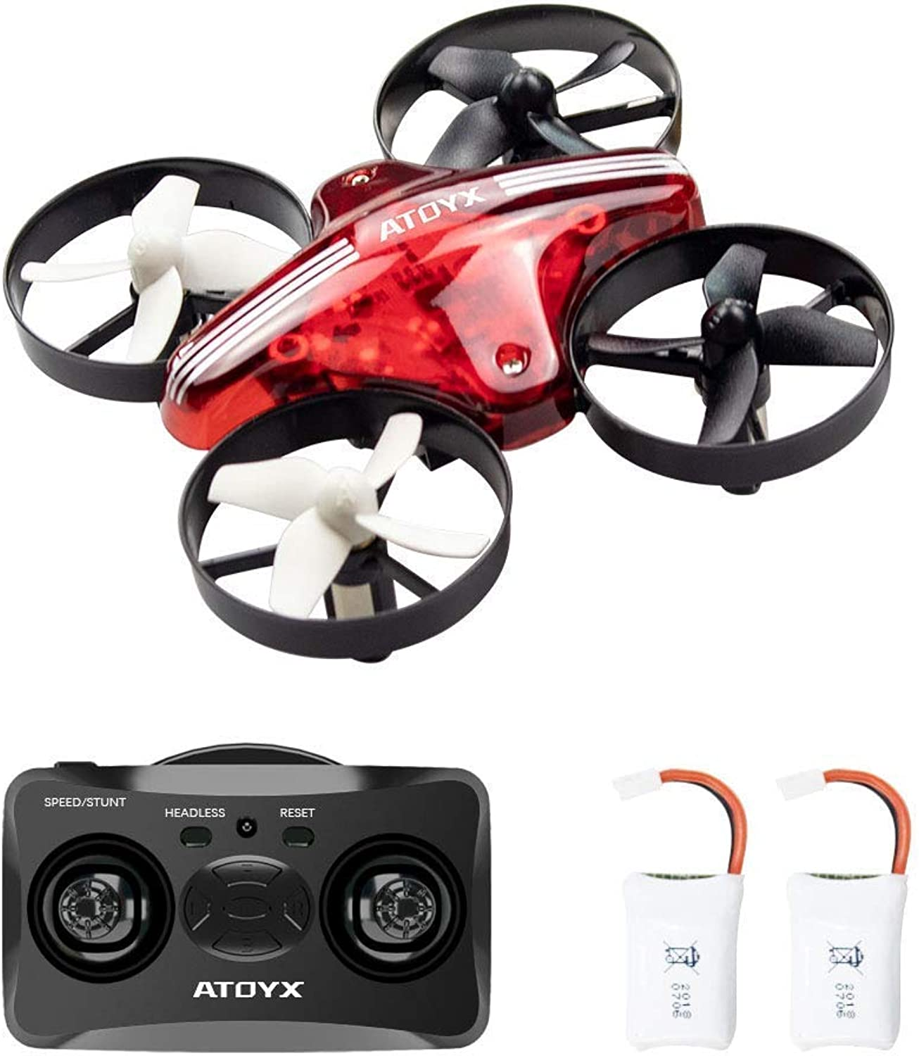 ATOYX AT66 Mini Drones, Quadcopter Auto Hovering Headless Mode 3D Flips 3 Speeds Helicopter RC Plane Toy with Bonus Batteries Drone for Kids Beginners (Red)