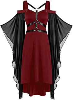 NANTE Top Loose Women's Dress Solid Gothic Criss Cross Lace Insert Butterfly Sleeve Dresses Christmas Halloween Party Skirt