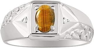 RYLOS Anillo para hombre con forma ovalada y diamantes brillantes auténticos en plata de ley 925 con acabado satinado, 7 x...