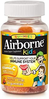 Airborne Kids Assorted Fruit Flavored Gummies, 21 count - 500mg of Vitamin C and Minerals & Herbs Immune Support (Packagin...