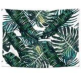 Pareo estampado con hojas tropicales en tejido ligero de poliéster útil como tapiz decorativo, colcha, mantel o para ir a la playa (198 x 147 cm) (GT06), verde oscuro, 78'*58'